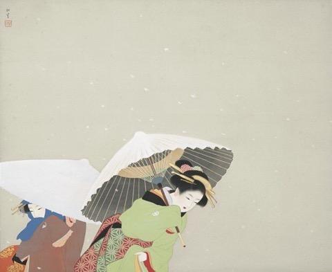 上村松園『牡丹雪』